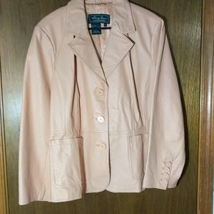 Vintage peach colored leather women's blazer